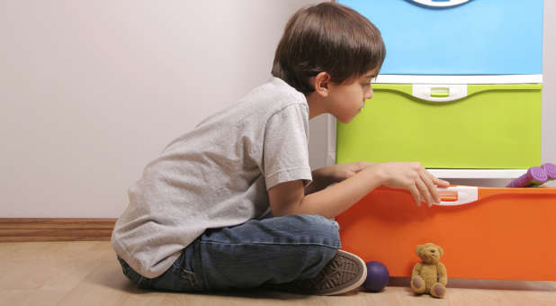 Child and toy box