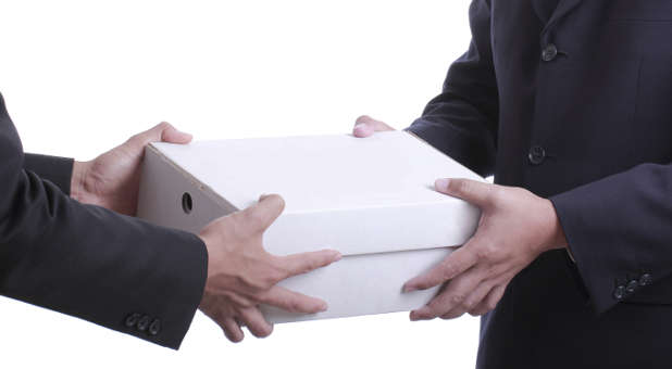 Giving businessman present