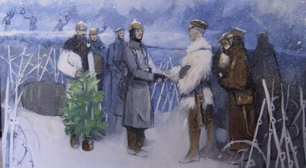 A portrait of a World War I  Christmas truce