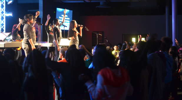 A youth worship service at New Church of Joy in Waukegan, Illinois.