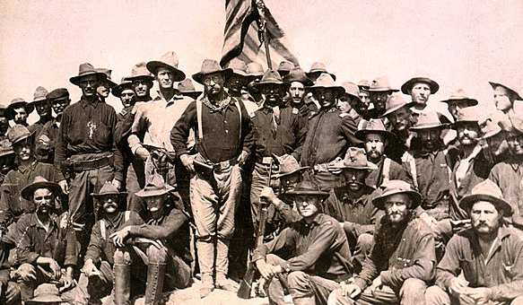 Colonel Theodore Roosevelt and his Rough Riders at the top of the hill which they captured, Battle of San Juan